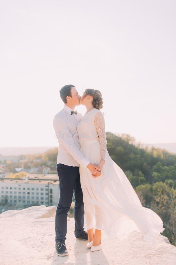 Pares do casamento que beijam alegremente no fundo urbano da paisagem Mãos da terra arrendada da noiva e do noivo fotografia de stock royalty free