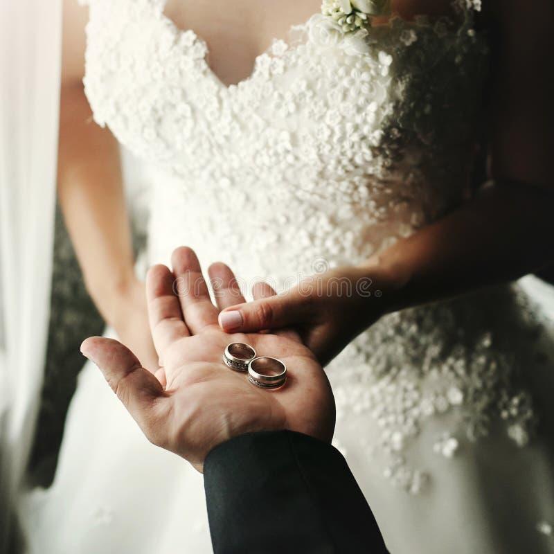 Pares do casamento que guardam as alianças de casamento luxuosas, noivo que mostra a noiva imagem de stock