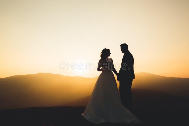 Pares do casamento que levantam no por do sol no dia do casamento Noiva e noivo no amor foto de stock