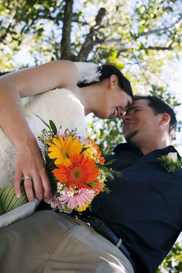Pares do casamento sob a árvore imagens de stock royalty free