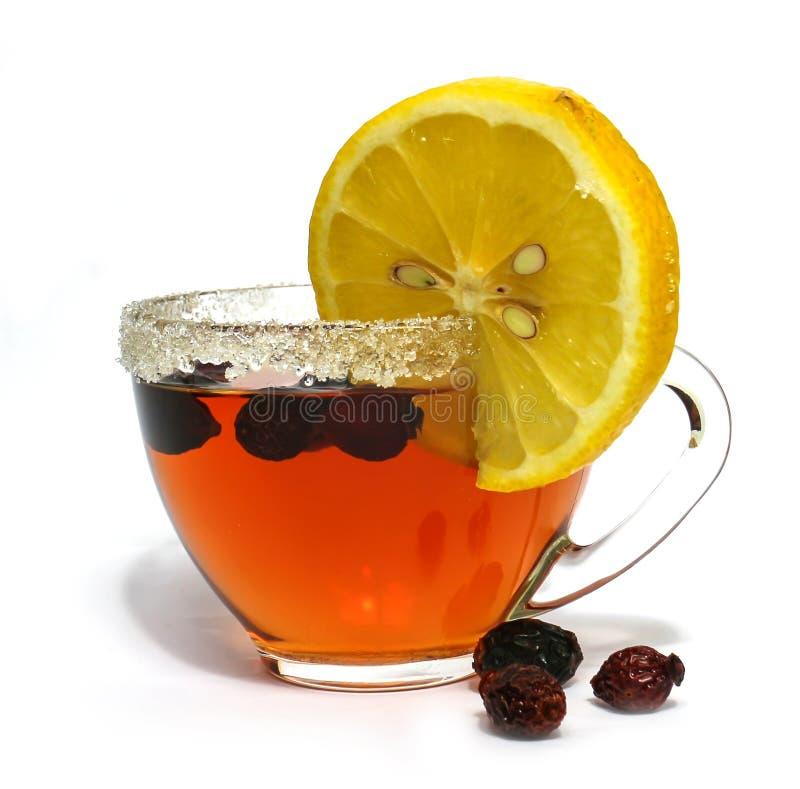 Pares do chá isolados no fundo branco, ramo do jasmim, limão, r fotografia de stock royalty free