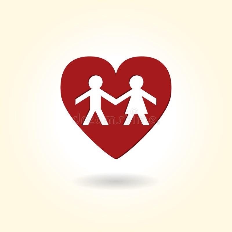 Pares do coração do amor ilustração do vetor