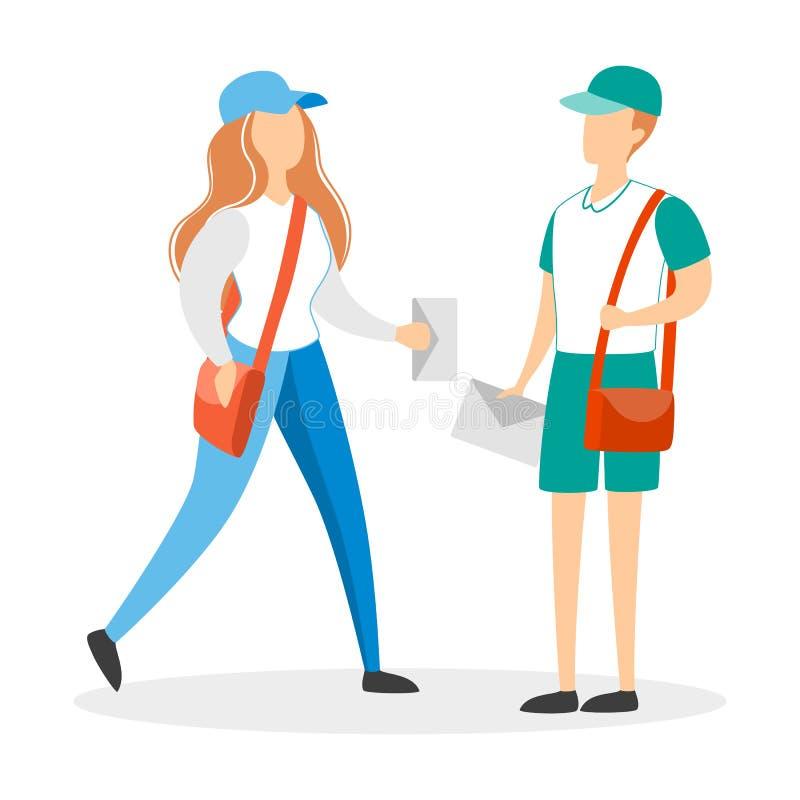 Pares do correio no uniforme Homem e mulher ilustração royalty free