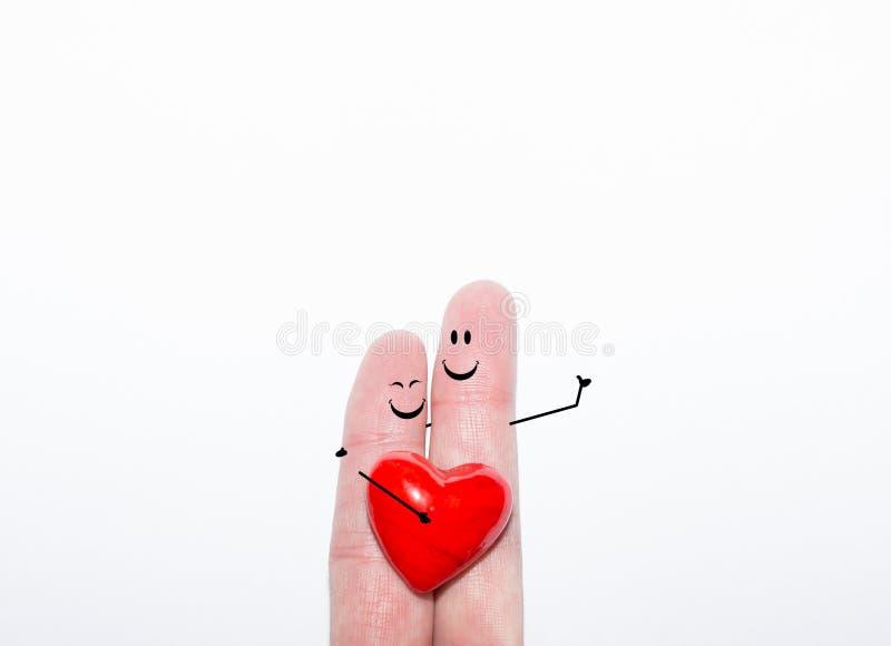 Pares do dedo que sonham do amor romântico no dia do ` s do Valentim fotografia de stock royalty free