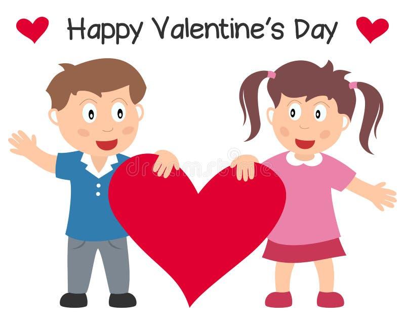Pares do dia do Valentim s com coração ilustração royalty free