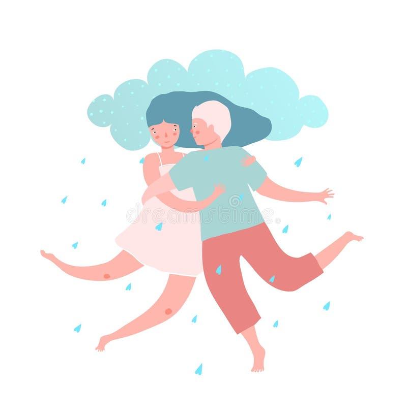 Pares do homem e da mulher com chuva do amor ilustração do vetor