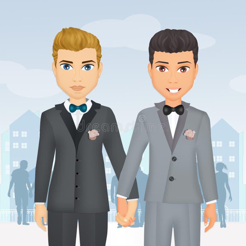 Pares do homossexual do casamento ilustração stock