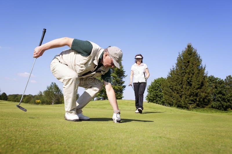Pares do jogador de golfe na esfera verde da colheita. foto de stock