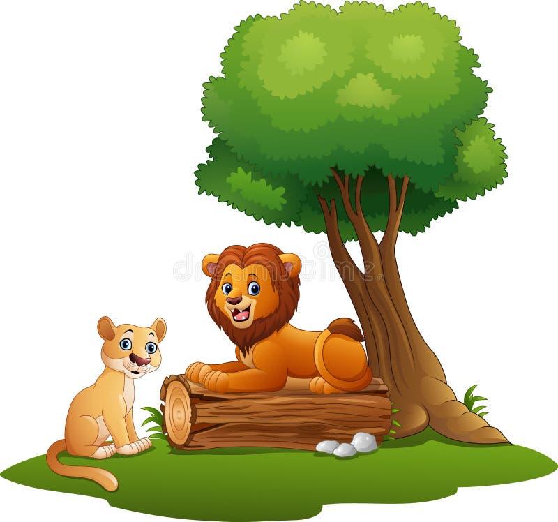 Pares do leão dos desenhos animados na selva ilustração do vetor
