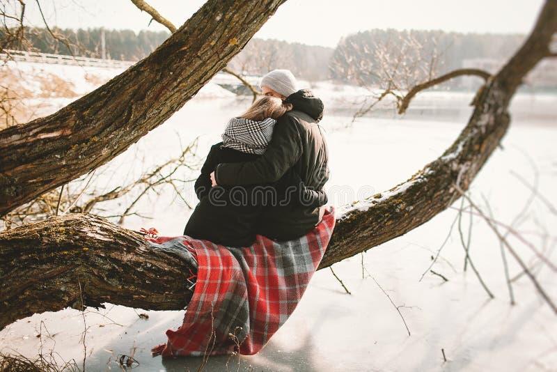 Pares do moderno que sentam-se na árvore sobre o lago congelado imagens de stock