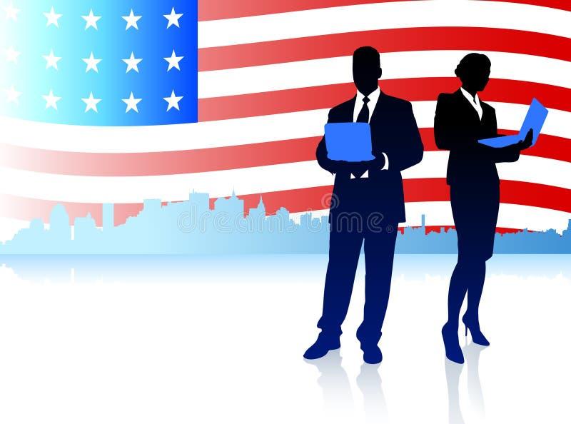 Pares do negócio com fundo da bandeira americana ilustração royalty free