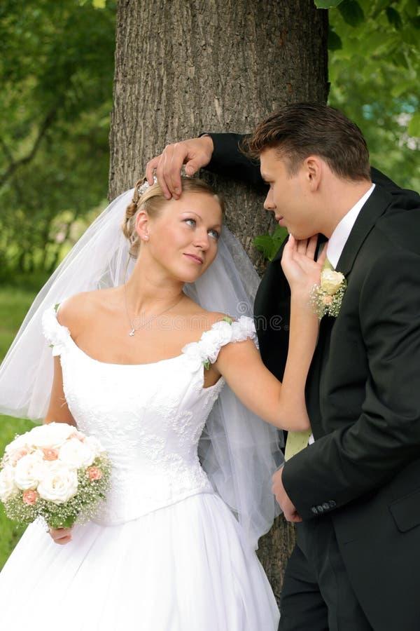 Pares do Newlywed no dia do casamento imagens de stock