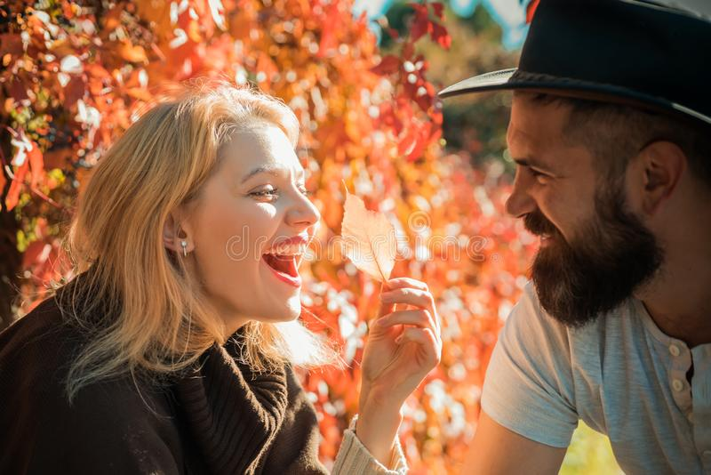 Pares do outono Pares novos atrativos de sorriso felizes na data que senta-se no café da rua no outono, compartilhando da bebida, foto de stock
