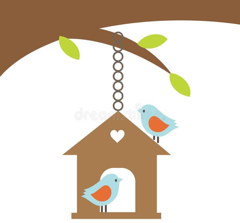 Pares do pássaro com uma casa ilustração do vetor