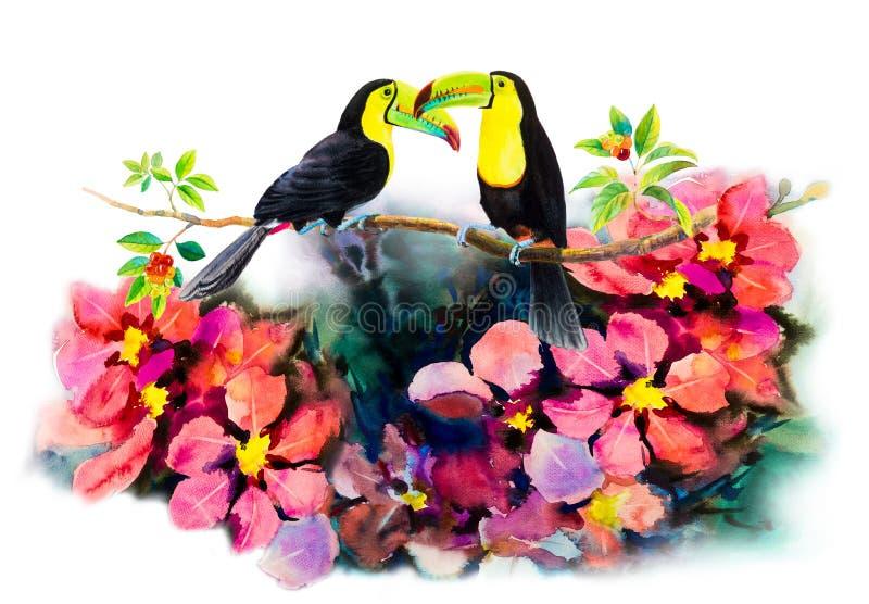 Pares do pássaro em ramos da cereja e em pintura da aquarela da flor ilustração do vetor