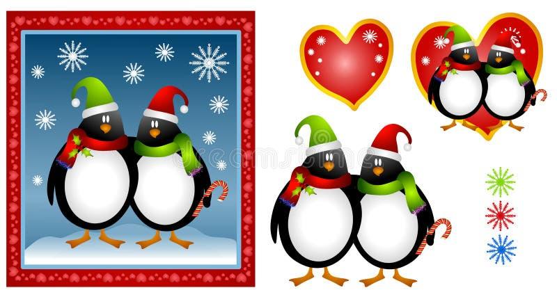 Pares do pinguim do Natal dos desenhos animados ilustração do vetor