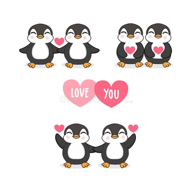 Pares do pinguim no amor com cora??o ilustração do vetor