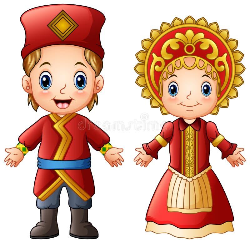 Pares do russo dos desenhos animados que vestem trajes tradicionais ilustração stock