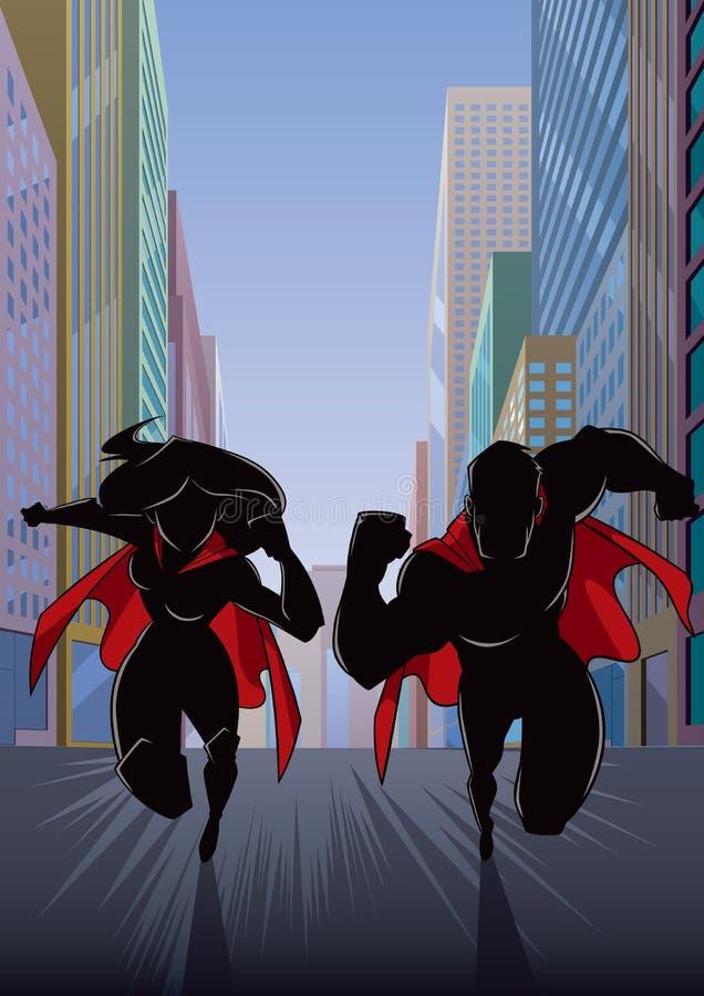Pares do super-herói que correm na silhueta da cidade ilustração do vetor
