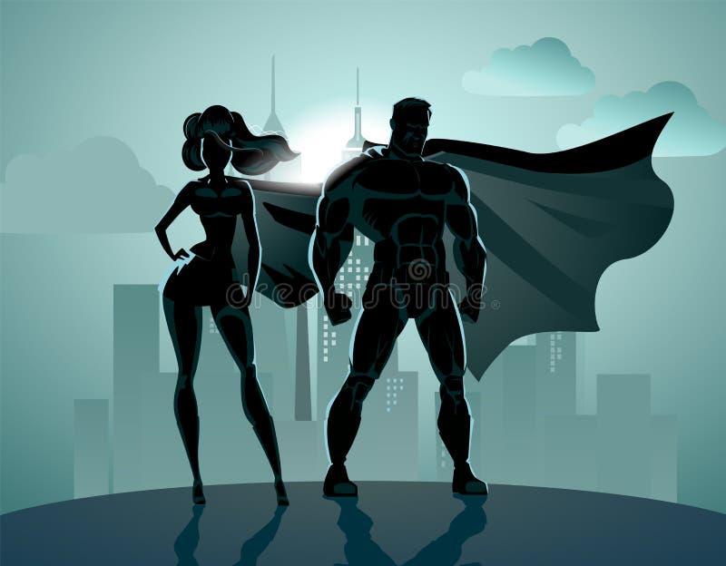 Pares do super-herói: Super-herói masculinos e fêmeas, levantando no dianteiro ilustração do vetor