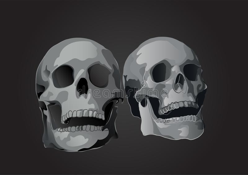 Pares do vetor de inclinação isolado sculls da ilustração 3d ilustração do vetor