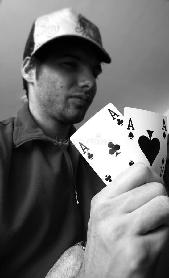 Pares dos ás - conceito do póquer fotos de stock