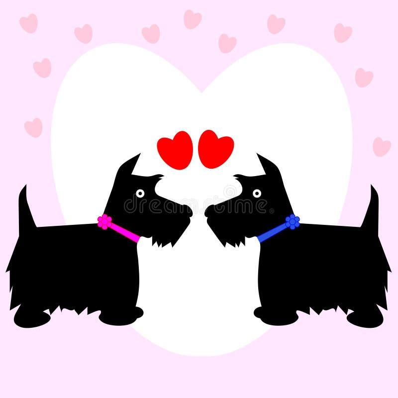 Pares dos corações do amor do cão ilustração royalty free