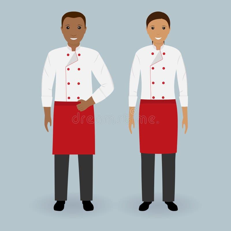 Pares dos cozinheiros chefe masculinos e fêmeas que estão junto no uniforme Cozinhando caráteres do alimento Conceito da equipe d ilustração royalty free