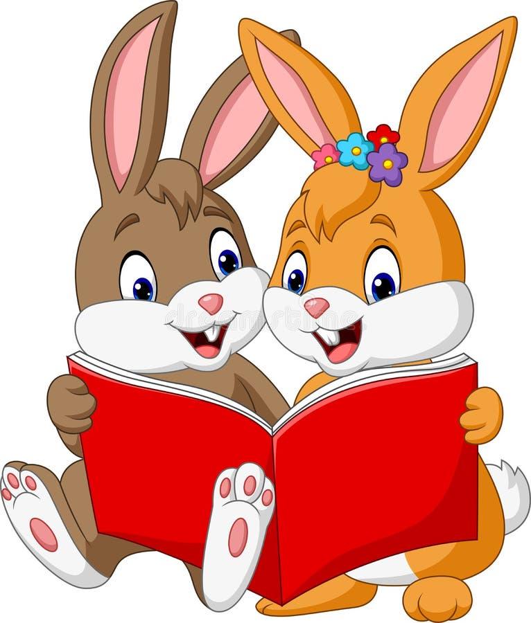 Pares dos desenhos animados de coelhos que leem um livro ilustração do vetor