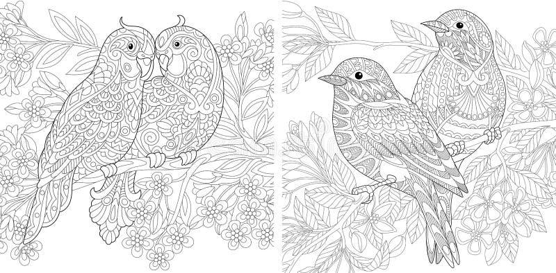 Pares dos pássaros da mola no amor ilustração stock