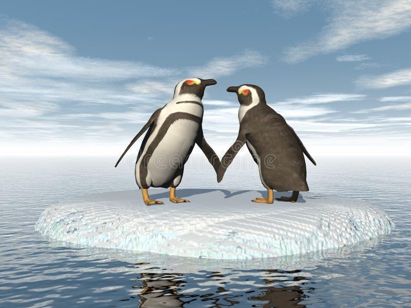 Pares dos pinguins - 3D rendem ilustração royalty free