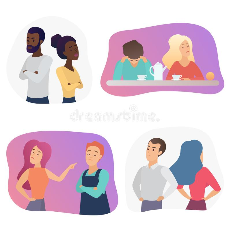 Pares dos povos durante a discussão ou o desacordo do conflito Ajuste dos homens ofendidos e das mulheres que discutem, discutind ilustração stock