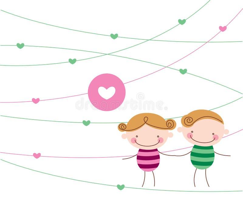 Pares dulces del amor ilustración del vector