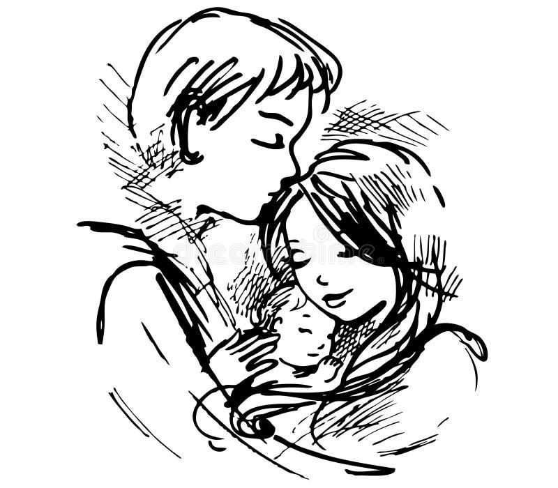Pares e bebê afectuosos ilustração do vetor