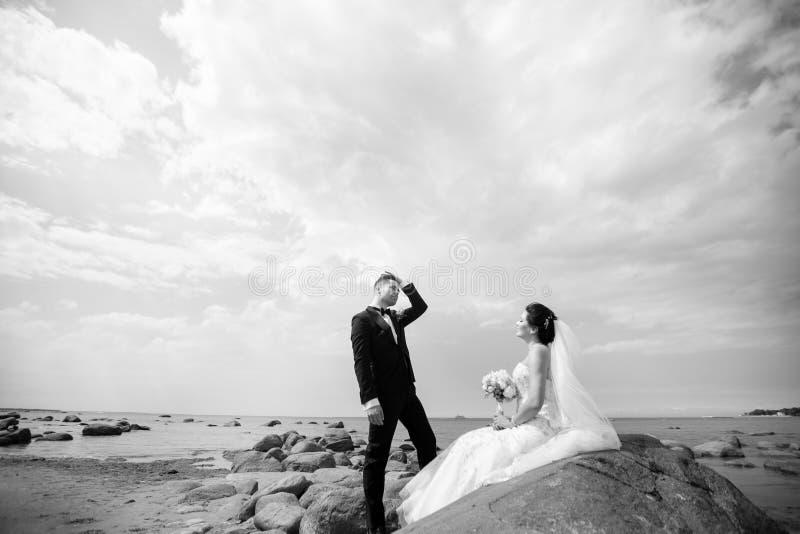 Pares elegantes de la boda que se colocan en orilla de mar Los recienes casados est?n caminando por el mar Rebecca 36 fotografía de archivo