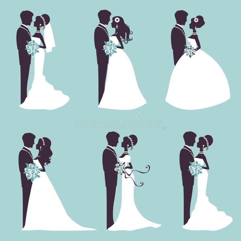 Pares elegantes do casamento na silhueta ilustração stock