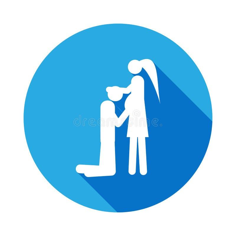 pares em antecipação ao ícone do bebê Elemento da ilustração casada vida dos povos Sinais e ícone da coleção dos símbolos para We ilustração stock