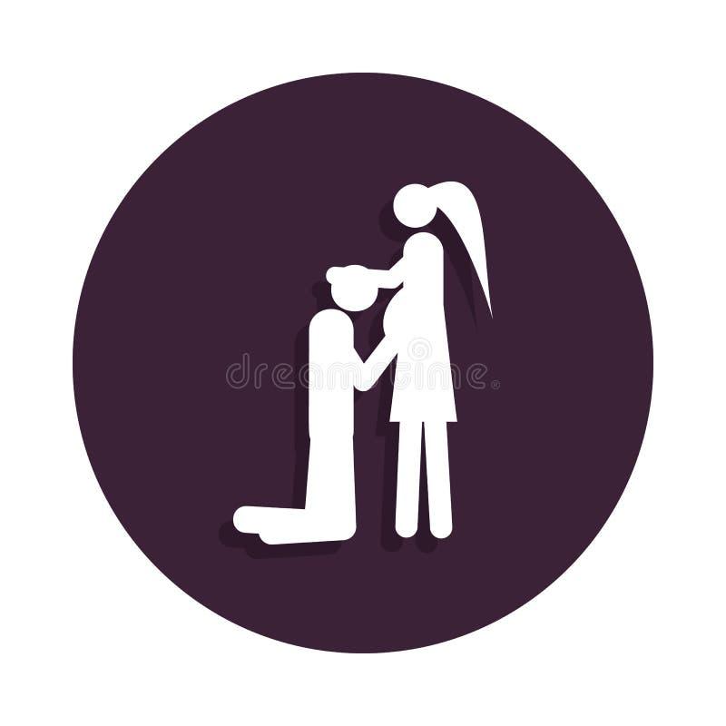 pares em antecipação ao ícone do bebê no estilo do crachá Um do ícone da coleção da união pode ser usado para UI, UX ilustração royalty free