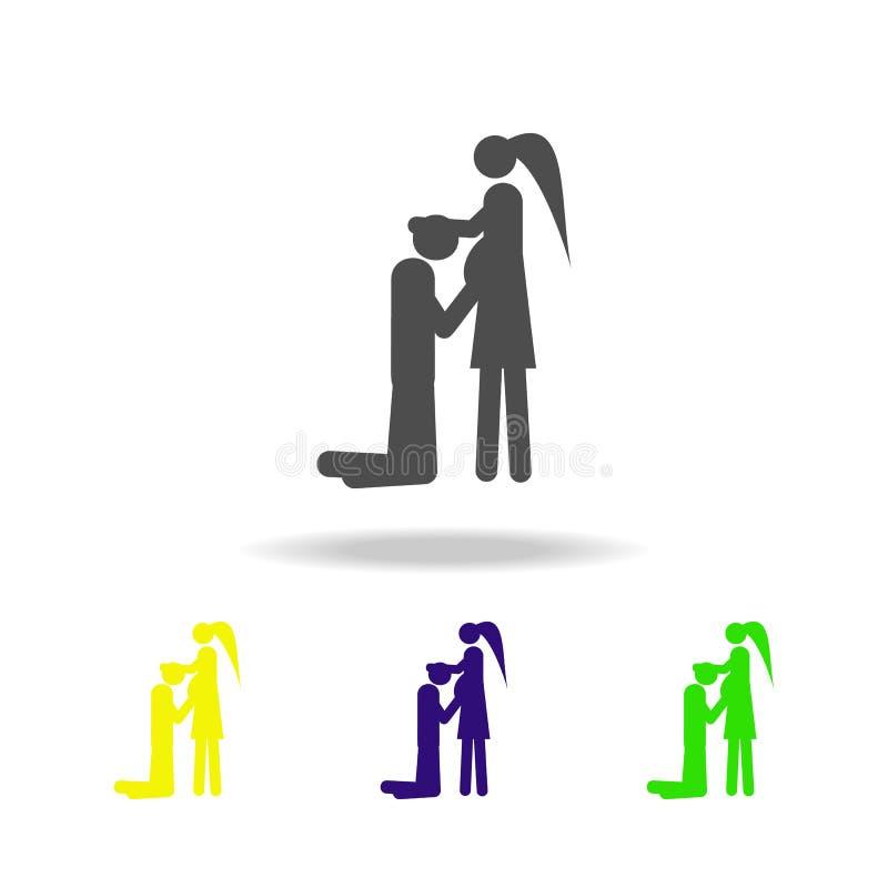 pares em antecipação aos ícones coloridos do bebê Elemento da ilustração casada vida dos povos Sinais e ícone da coleção dos símb ilustração royalty free