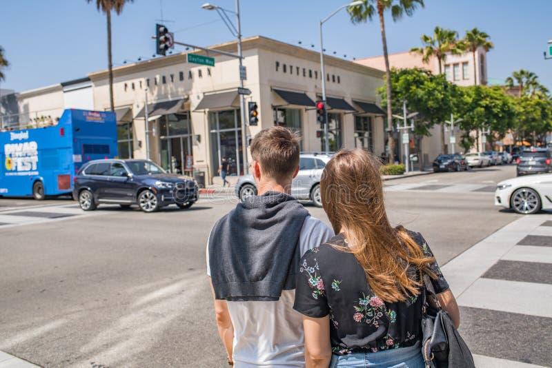Pares em Beverly Hills fotografia de stock