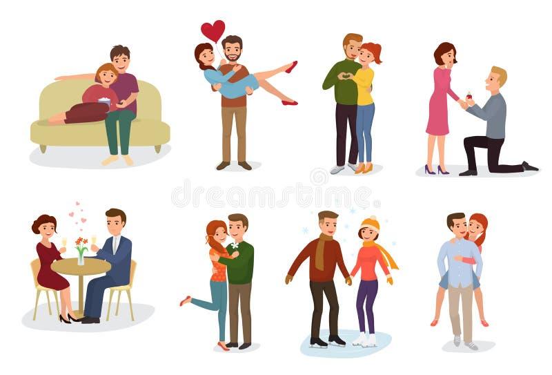 Pares em caráteres dos amantes do vetor do amor em relacionamentos bonitos junto em dia de Valentim loving da data e em noivo ilustração do vetor
