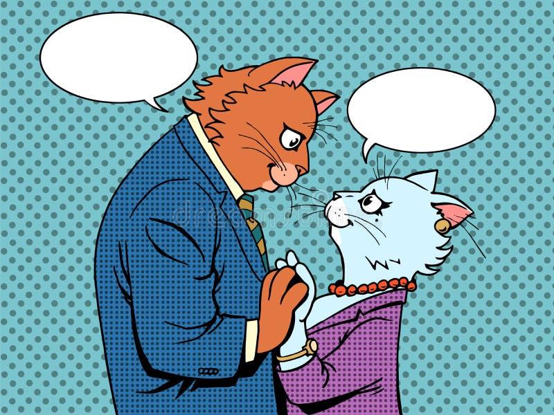 Pares em caráteres dos gatos do amor ilustração do vetor