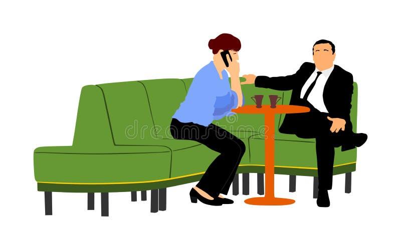 Pares em povos de assento e de fala do amor do vetor Amigos que bebem o café na barra após o trabalho ilustração do vetor