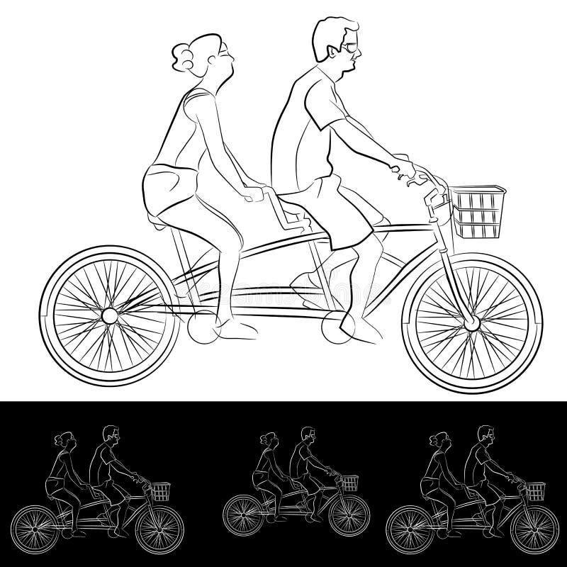 Pares em tandem dos jovens dos cavaleiros da bicicleta ilustração stock
