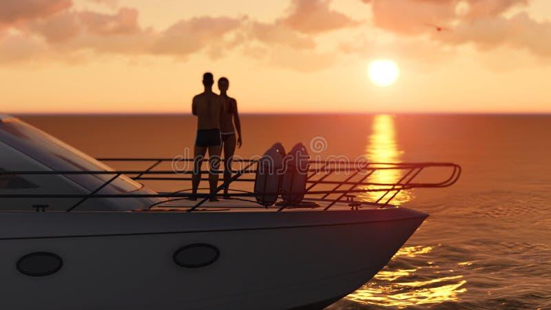 Pares em um barco de prazer ilustração do vetor