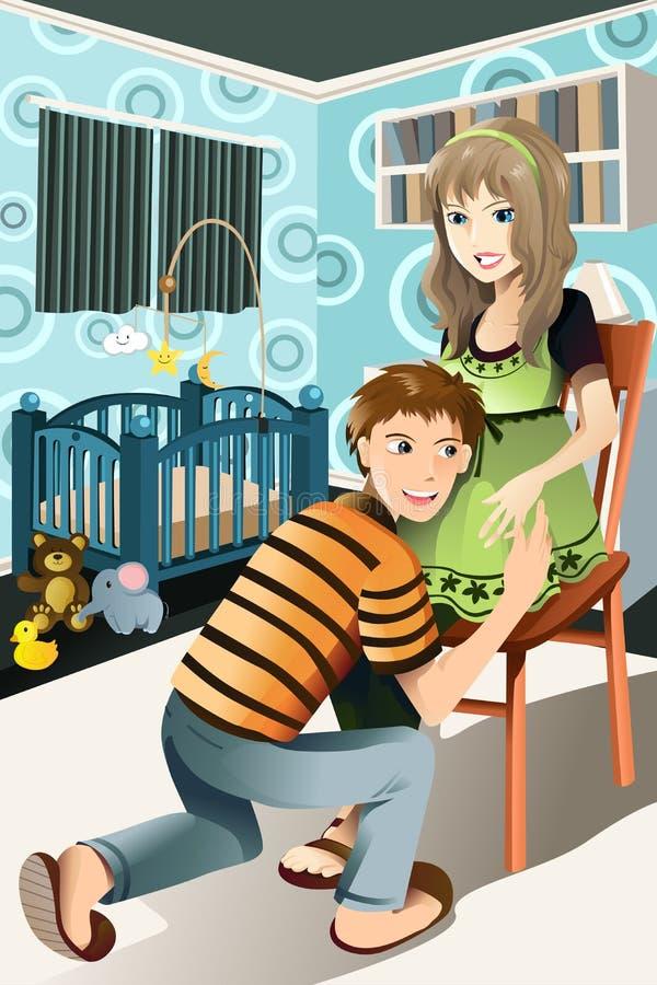 Pares embarazados felices libre illustration