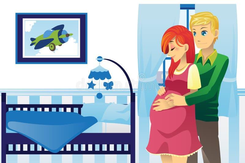 Pares embarazados felices stock de ilustración