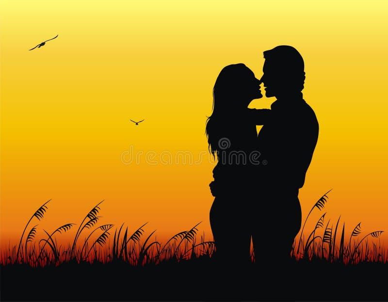 Pares en amor ilustración del vector