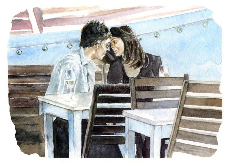 Pares en amor Café stock de ilustración