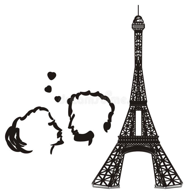 Pares en amor con los objetos negros stock de ilustración